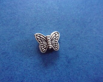 Pearl Butterfly silver metal - 10mm x 9mm