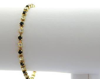 Vintage Tennis Bracelet - Faux Black and White Diamonds