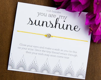 You are my Sunshine Wish Bracelet, Fun Friendship Bracelet, Inspirational Jewelry, Bulk Gift, Gifts under 10, Sun Bracelet, Care package