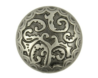 Metal Buttons - Tropical Fern Gray Silver Metal Shank Buttons - 25mm - 1 inch - 6 pc