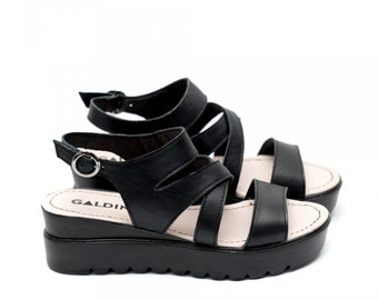 Women Black Platform Genuine Leather Sandals, Comfortable Shoes, Women Everyday Sandals, Black Leather Sandals, Women Designer Sandals