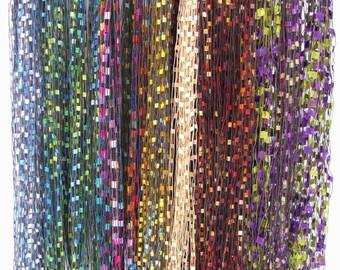 FIBER NECKLACES, Ladder Ribbon Necklace,  Emerald Green Fiber Necklace, Jewel Tone Fiber Necklace