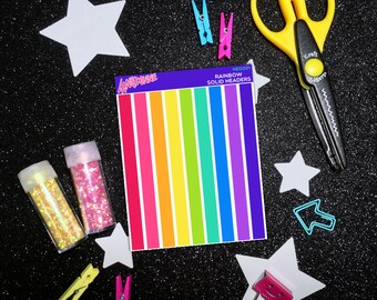 Rainbow Sticker Tag, Rainbow Stickers Sheets, Header Stickers, School Stickers for Happy Planner, Planner Stickers School, Blank Stickers