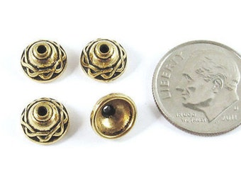 TierraCast Pewter Bead Caps-GOLD CELTIC 8mm (4 Pieces)