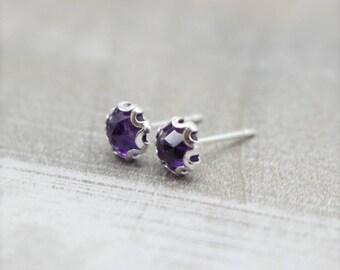 Amethyst Stud Earrings - February Birthstone - Gemstone Earrings - Gift For Her