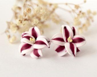 Stargazer lily earrings, Red studs, red flower earrings, dark red, marsala, minimalist tiny earrings, christmas gift, white flower