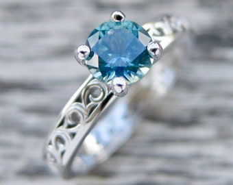 Teal Blue Green Montana Sapphire Engagement Ring in 14K White Gold with Vintage Inspired Floral Scroll Work Size 5