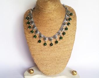 Gemstone Necklace/Jade Statement necklace/Silver Necklace/Bib Necklace/Beaded Jewelry/Chunky Necklace/Tribal Necklace