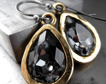 Black Night Swarovski Crystal Teardrop Earrings with Matte Antiqued Gold Artistic Bezels, Mixed Metal Earrings, Gold Formal Wedding Jewelry