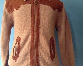Vintage 1970s Western Zip Up Sweater Jacket