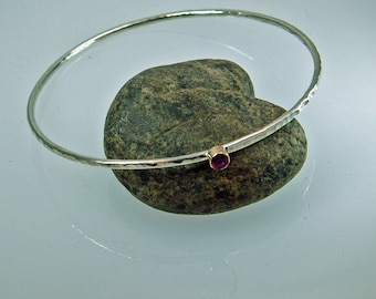 Silver Bangle, Faceted Ruby, Ruby Bracelet, July Birthstone, Silver Jewelry, 14K Gold Tube Setting, Sweetheart Bangle, Hammered Forged
