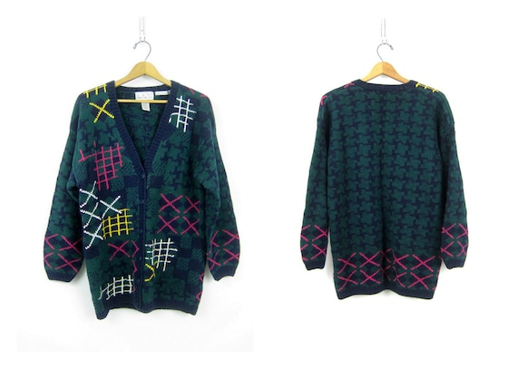 Slouchy RETRO Abstract Sweater thick Chunky Saved By the Bell Geometric 1980s Graphic Knit cardigan Oversize Women's size Medium