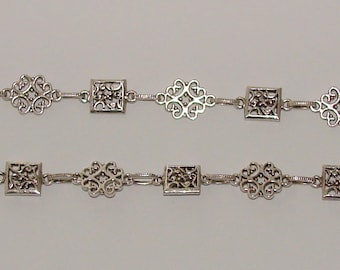 20cm silver chain antique flower and rectangle - Ref: CHA 38
