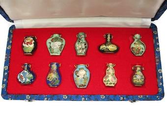 10 Cloisonne Vase Pendants/ 10 MINT Cloisonné Bird Flower Mini Vases /Peking Jewelry Company Original Brocade Box Set/ Enamel Vase Pendants