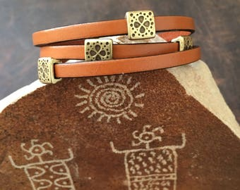 Handmade Leather Wrap Bracelet With Brass Sliders RM631