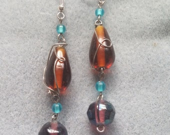 Amber and Purple Wire Wrapped Bead Drop Earrings
