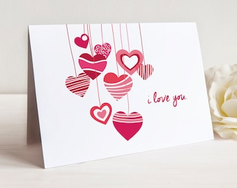 Valentine's Day Hearts, I Love You Note Cards, Set of 15 Cards with Envelopes