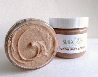Cocoa Face Scrub -  Organic Facial Scrub - Face Cleanser - Moisturizing Face Scrub for Dry Skin - Chocolate Face Scrub - Gift for Her - 2 oz