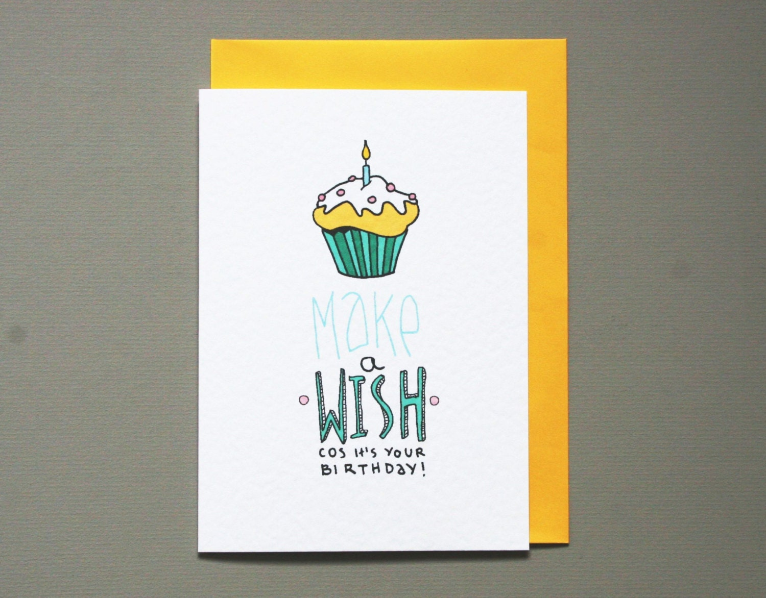 Cupcake birthday card make a wish birthday card hand drawn zoom bookmarktalkfo Images
