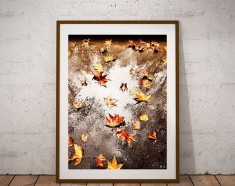 Leaves in the rain, printable poster, photography, instant download, art print, download and print
