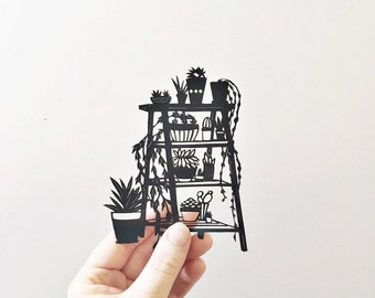 Handmade papercut | house plants | papercut | interiors | home decor | contemporary | silhouette | botanical | ladder |cacti | paperart