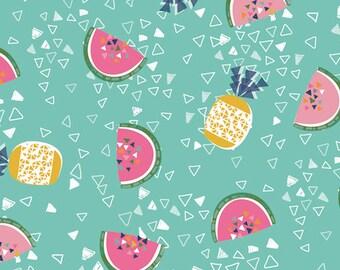 Fabric - Dashwood studios - Club Tropicana, pineapple and water melon - medium weight woven cotton fabric.