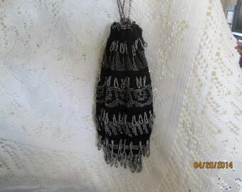 Antique Steel beaded Crochet Reticule Purse