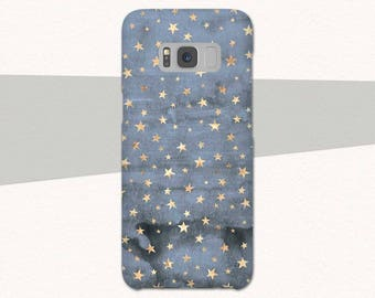 Blue Gold Stars Galaxy S8 Case, Blue Samsung Galaxy S8 S7 S6 Galaxy A3 Case, A5 Case, Pretty Galaxy S9 Phone Case Samsung Galaxy S8 Plus