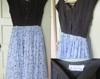 50s Dress, Nelly Don Dress, Vintage Dress, Dress, Full Skirt, Blue, Black, Button up, Nelly Don, vintage, Novelty, Print, Print Skirt, Vogue
