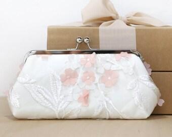 Ivory Blush Peach/Pink Floral Clutch | HYDRANGEAS, wedding clutch, purse for Bride, Bridesmaid, Mothers, something blue