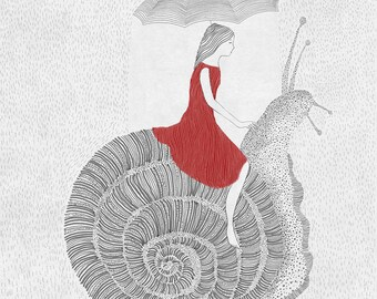 Friends, Girl and Snail ,nursery art, illustration ,art print of orginal drawing