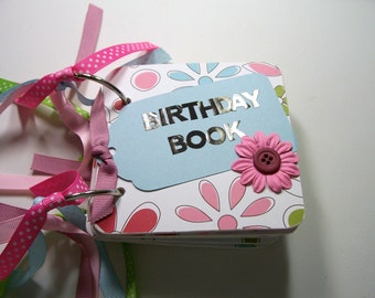 Pink and Blue Birthday Book, Birthday reminder book, Birthday calendar, birthday list, mini birthday book, chipboard calendar
