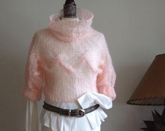 Braided shrug, summer blush pink shrug,  mohair shrug poncho sweater, hand knitted cropped sweater, Couvert shrug, wedding shrug, boho shrug
