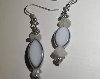 Handmade stone silver white dangly earrings