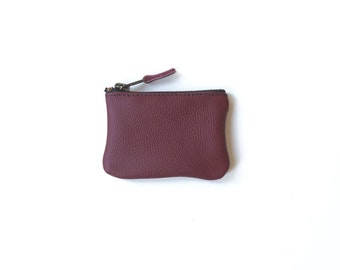 Coin Purse Leather / Burgundy Red Ethical / Mini Wallet / Recycled Leather