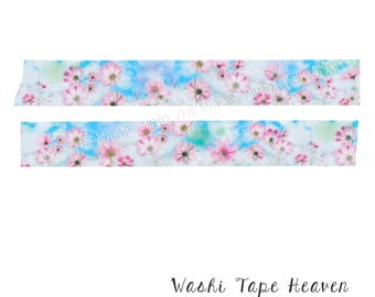 """Watercolor """"Cosmos"""" Japanese Washi Tape - 15mm x 10m - Dreamy Pink Flowers Blue Sky White Clouds"""