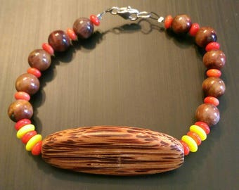 Wood and Glass Beaded Bracelet