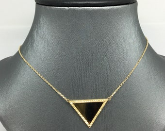 14K Yellow Gold Diamond Cut Triangle Charm Necklace