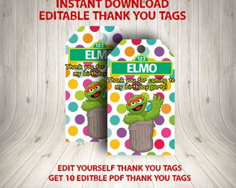 INSTANT DOWNLOAD - Oscar the Grouch Party, Oscar the Grouch Theme, Oscar the Grouch PDF, Sesame Street Editable Thank You Tags,Sesame Street