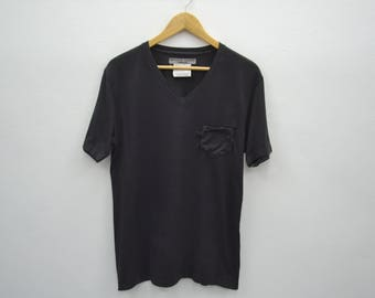 KATHARINE HAMNETT London V-Neck Pocket Tee T Shirt Size L