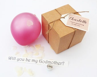 Personalised balloon proposal box pink balloon will you be my bridesmaid, godmother etc