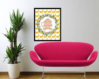 DIGITAL WALL ART- Monkey With Bananas-Room Art