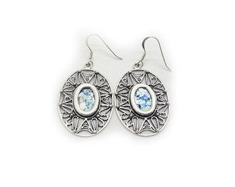 Filigree Dangle Earrings, 925 Sterling Silver Earrings, Ancient Roman Glass Earrings, Unique Jewelry