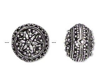 Silver Filigree Bead, Puffed Flat Round, Antiqued Silver Bead, 16x12mm, 2 each, D822