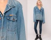 80s Denim Jacket Jean Jacket Blue Trucker Jacket Distressed Jean Jacket Faded 1980s Vintage Rustler Biker Button Up Hipster Extra Large xl