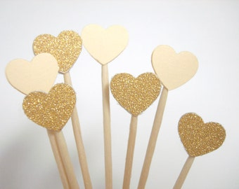 Set of 50Pcs - Gold Glitter and Cream ' Mini Heart' Cupcake Toppers, Food Picks, Weddings, Bridal/Baby Shower Party Picks