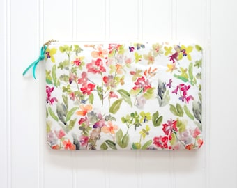 NEW! Watercolor Orchids Cosmetic Pouch, Floral Make-Up Bag, Original Designer Fabric