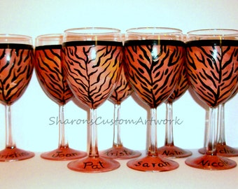 Bachelorette Party, Bridesmaids Gift, Maid of Honor Bridal Party - Set of 8 -10 oz. Wine Glasses Tiger Cheetah Leopard Zebra Giraffe Print