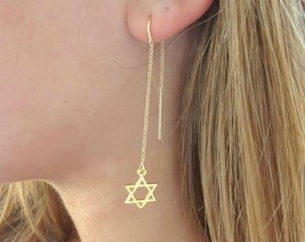 Star Of David Earrings, Jewish Star Thread Earrings, Gold Filled Threader Earrings, Fall Earrings, Jewish Jewelry, Gold Magen David Earrings