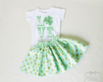 St Patrick Skirt - Mint Green Shamrock - Irish Girl Skirt Set Custom - St. Patrick Retro 6/12 month to 14 - Green Gold Polka Dot Skirt